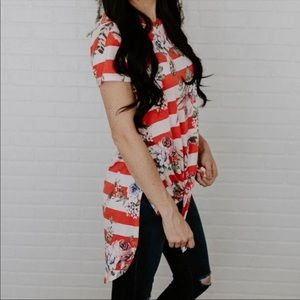 Red Striped Floral Hi Low Knotted Tee